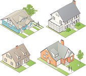 Four isometric houses include lawns, people, and other details in this vector illustration.
