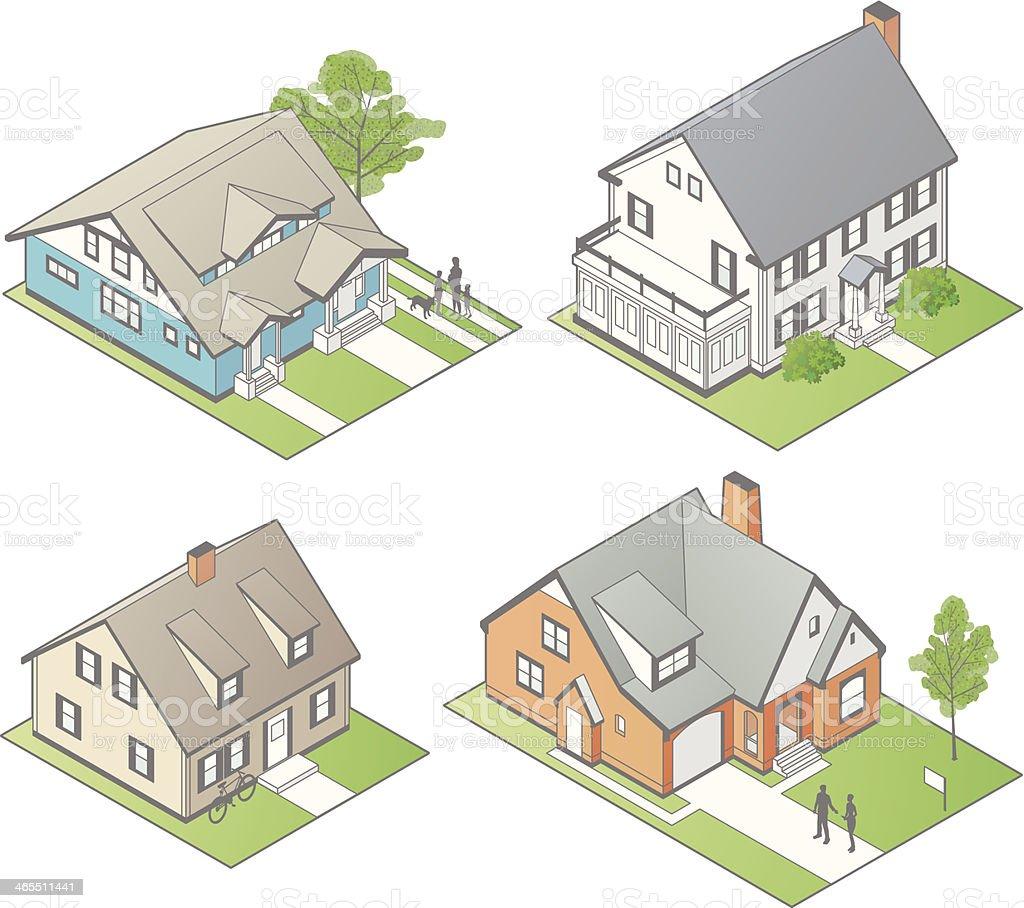 Isometric Houses Illustration vector art illustration