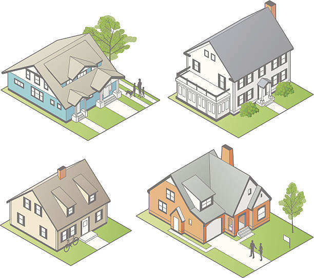 isometric houses illustration - mathisworks people icons stock illustrations, clip art, cartoons, & icons