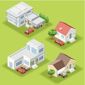 Isometric houses on green background, made in adobe Illustrator (vector)