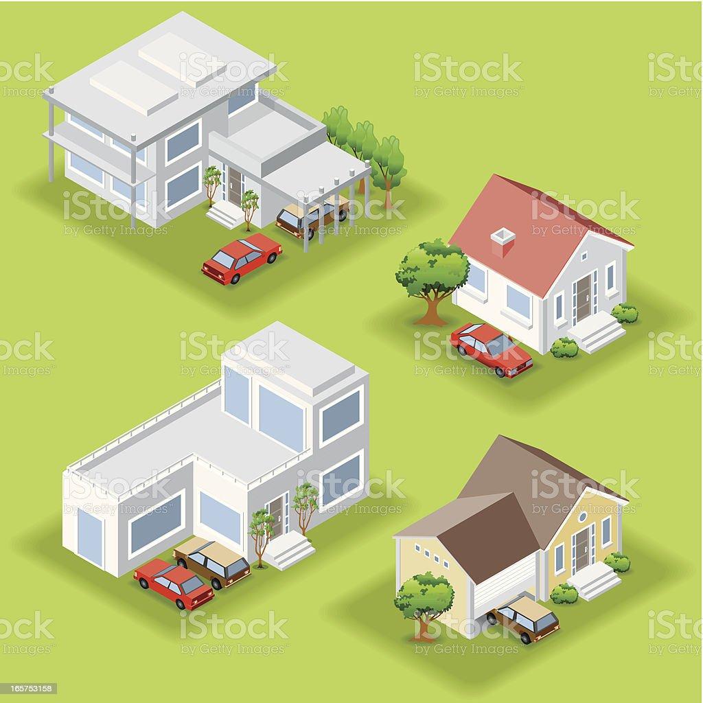 Isométricos casas - ilustración de arte vectorial