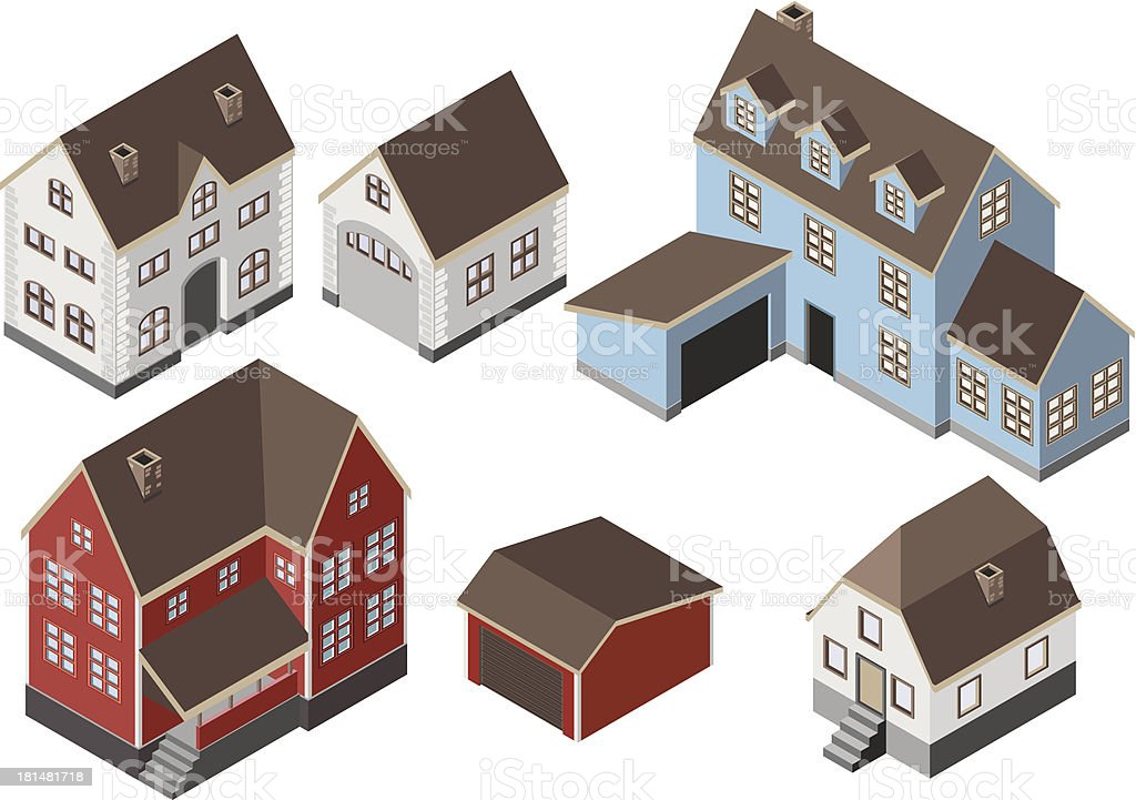 Isometric Houses vector art illustration