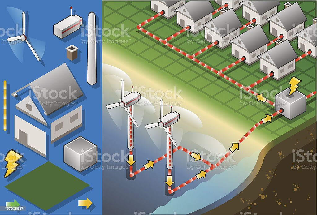 Isometric houses with offshore wind turbines in production of energy royalty-free stock vector art