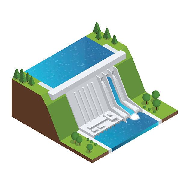 isometric hydroelectric power plant - плотина stock illustrations