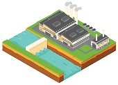 A vector illustration of a hydroelectric power station.
