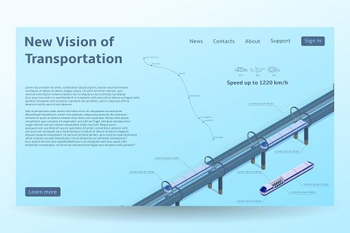 Isometric Hyperloop transport concept banner