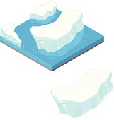 A vector illustration of frozen melting Icebergs floating on the water.