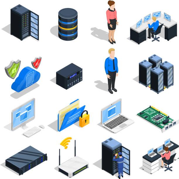 stockillustraties, clipart, cartoons en iconen met isometrische pictogramdatacenter - netwerkserver