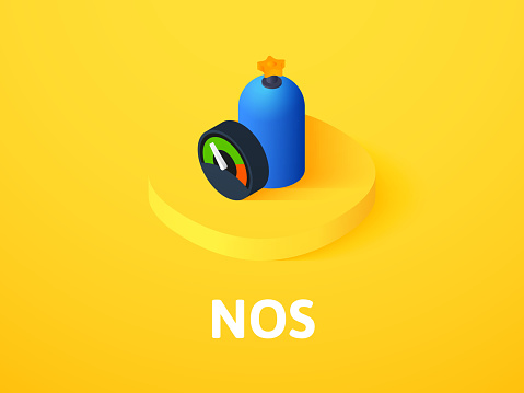 NOS isometric icon, isolated on color background