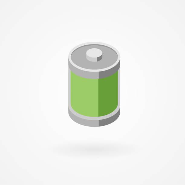 Isometric icon of battery vector art illustration