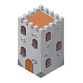 Isometric icon of medieval tower or prison. Vector illustration.