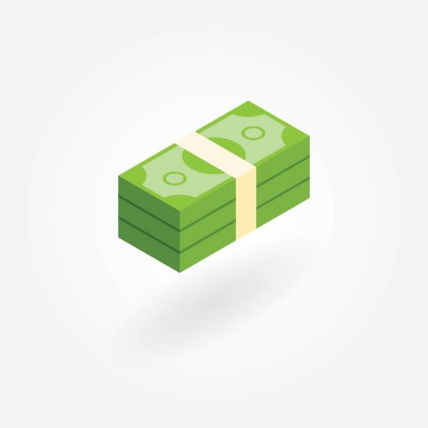 isometric icon of pile of money - banknot stock illustrations, clip art, cartoons, & icons