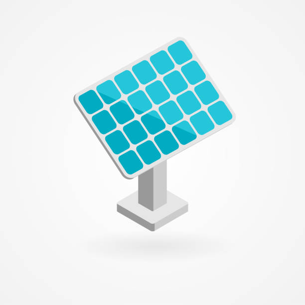 Isometric icon of solar panels vector art illustration