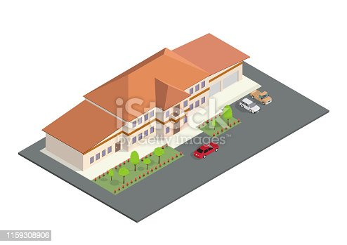 isometric icon represents a modern home with a parking area and a front garden