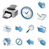 Isometric icons | Blue internet and web