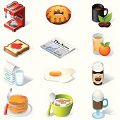 Isometric icons, Breakfast and food on white background, make in adobe Illustrator (vector)