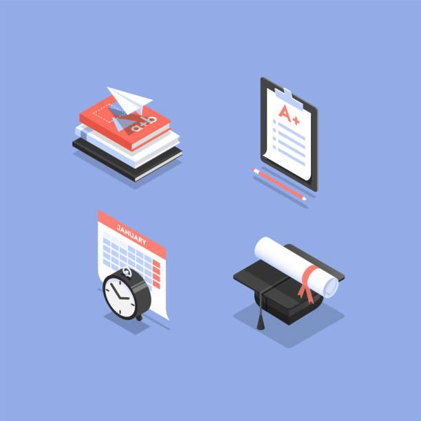 illustrazioni stock, clip art, cartoni animati e icone di tendenza di isometric icons for college - esame università
