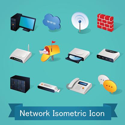 Isometric icons   Network - Illustration