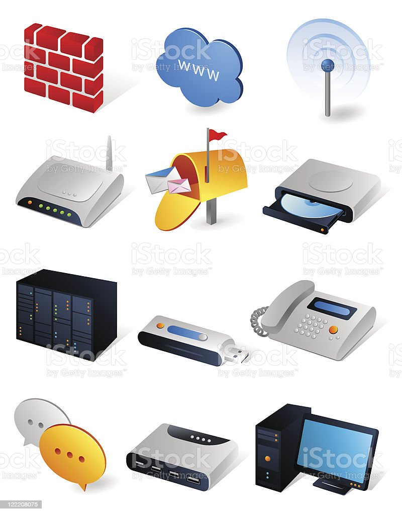 Isometric icons | Network royalty-free stock vector art