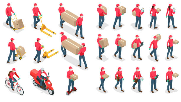 isometric icons of delivery man and woman or courier in a medical mask and gloves delivering food to customer at home. online purchases during a quarantine. contactless or to the door delivery. - essential workers stock illustrations