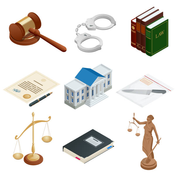 Isometric icons of isolated public justice symbols. Lawbook, handcuff, judge gavel, scales, paper, Themis. Vector illustration Isometric icons of isolated public justice symbols. Lawbook, handcuff, judge gavel, scales, paper, Themis Vector illustration courthouse stock illustrations