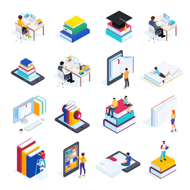 isometric icons of online education with people. - book icons stock illustrations