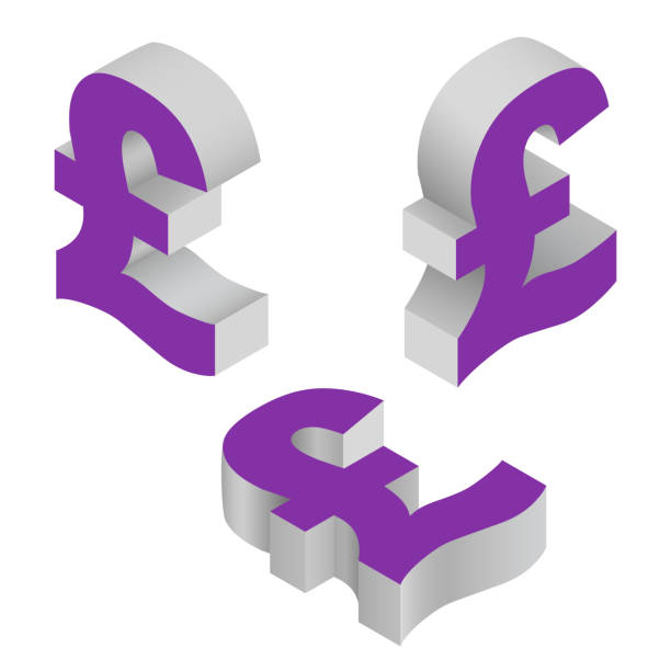 isometric icons of symbol pound sterling currency. vector. - символ фунта stock illustrations