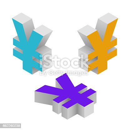 Isometric Icons Of Symbol Yen Currency Vector Stock Vector Art