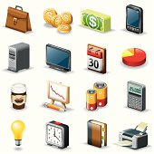Isometric icons, Office things on white background, make in adobe Illustrator (vector)