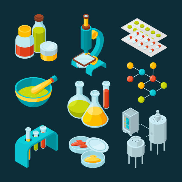 Isometric icons set of pharmaceutical industry and scientific theme Isometric icons set of pharmaceutical industry and scientific theme. Chemistry isometric laboratory, scientific medicine elements. Vector illustration fabric swatch stock illustrations