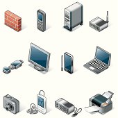 Isometric icons, Technology and office things on white background, make in adobe Illustrator (vector)