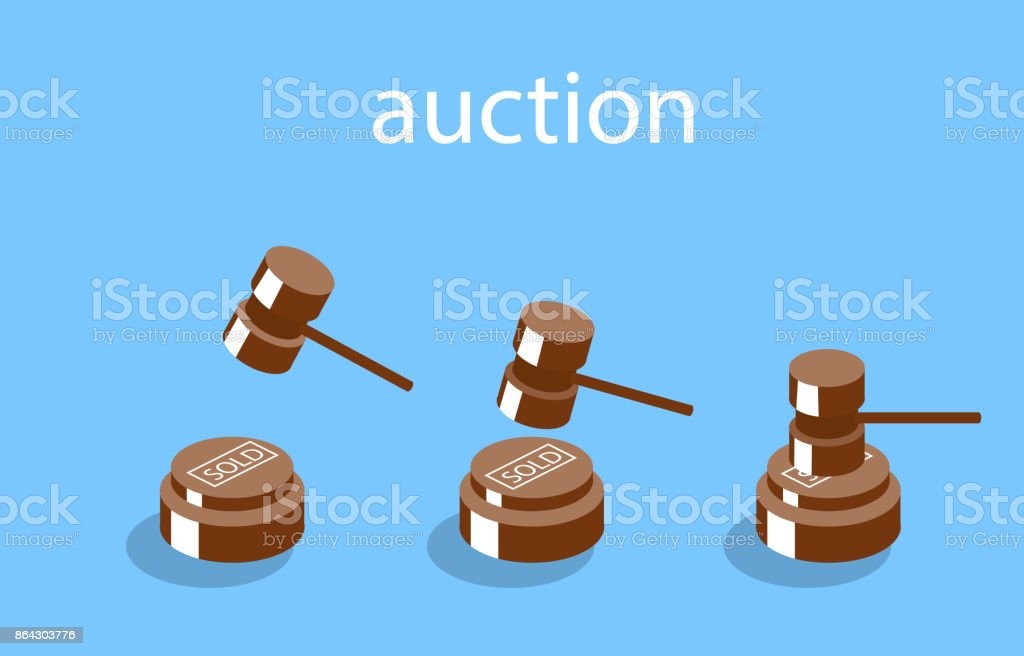 Isometric illustration auction and bidding concept vector art illustration