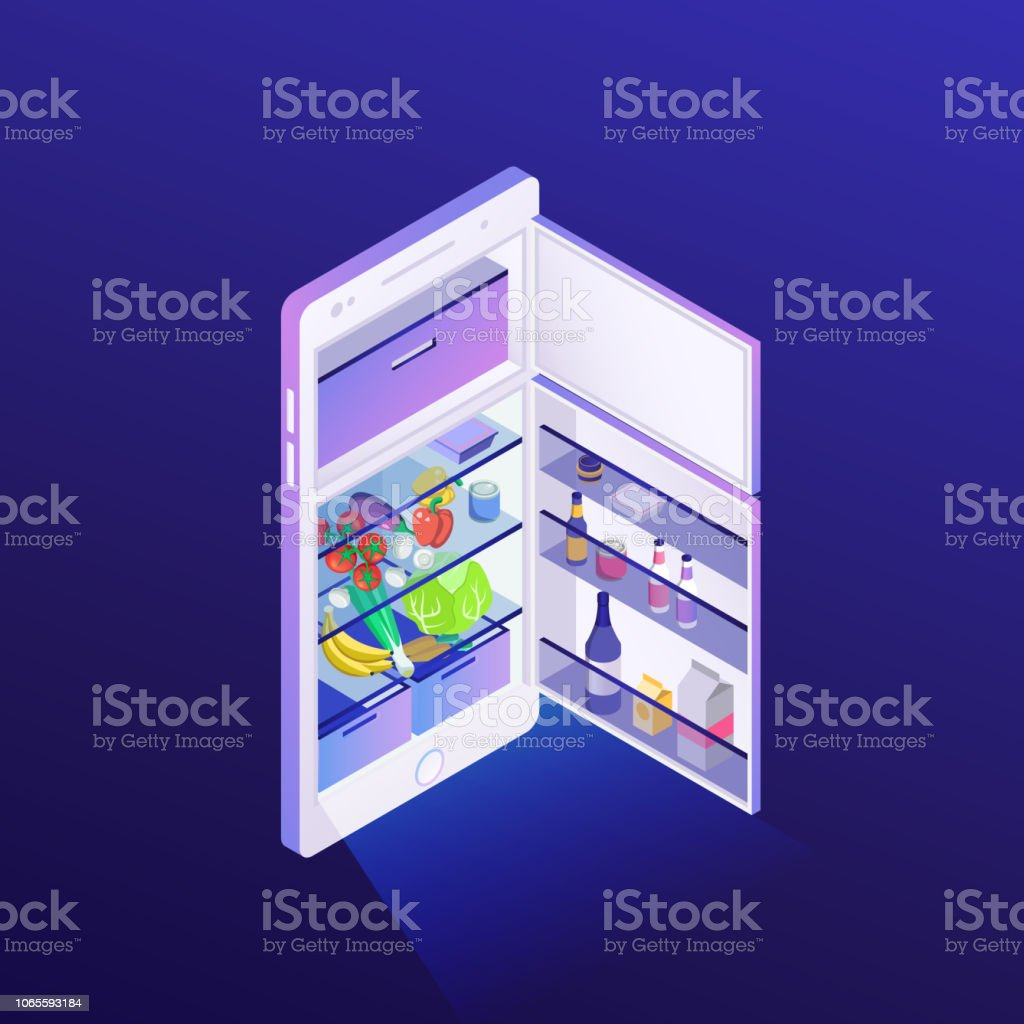 Isometric Illustration Concept For Grocery Delivery Online Ordering