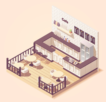 isometric illustration Cute small cafe or restaurant