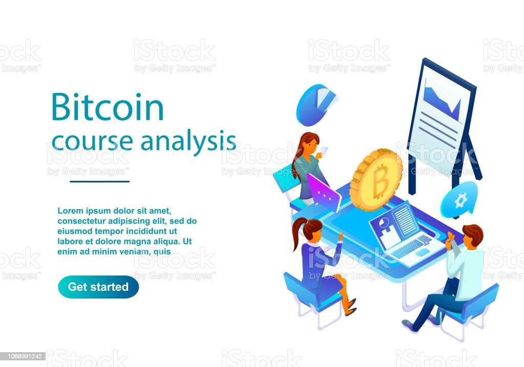 Isometric Illustration Of A Bitcoin Course Analysis Made With