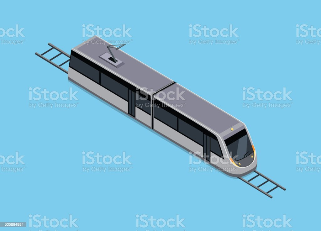 Isometric Illustration of a Subway Train vector art illustration