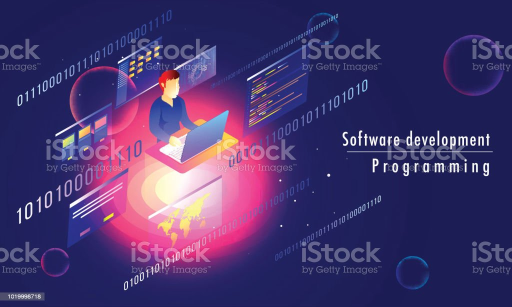 3D isometric illustration of analyst or developer working on laptop with multiple screens on blue abstract background for Software development programming responsive landing page. 3D isometric illustration of analyst or developer working on laptop with multiple screens on blue abstract background for Software development programming responsive landing page. Abstract stock vector