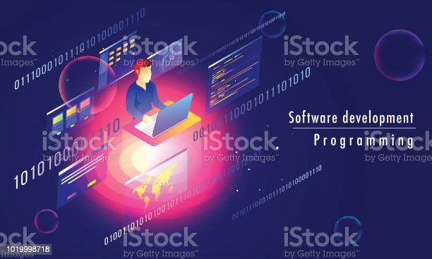 3d Isometric Illustration Of Analyst Or Developer Working On Laptop With Multiple Screens On Blue Abstract Background For Software Development Programming Responsive Landing Page Stock Illustration - Download Image Now