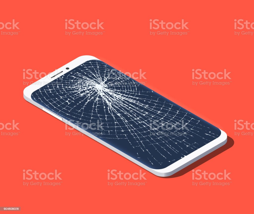 Isometric illustration of broken smartphone with shattered screen vector art illustration