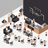Vector isometric illustration of interior of coffee shop. Illustration people work in a coffee shop. People drink coffee from cups. Vector elements: coffee machine, table, sofa, snack, sweet, cup.