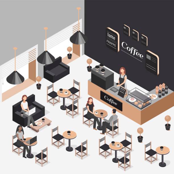 ilustrações de stock, clip art, desenhos animados e ícones de isometric illustration of coffee shop - coffe shop