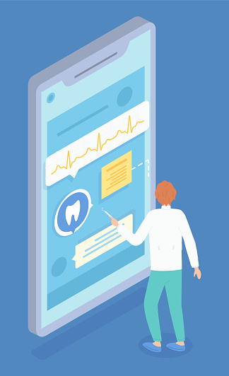 Isometric illustration of dentist consultation. Providing remote doctoral services. Vector image