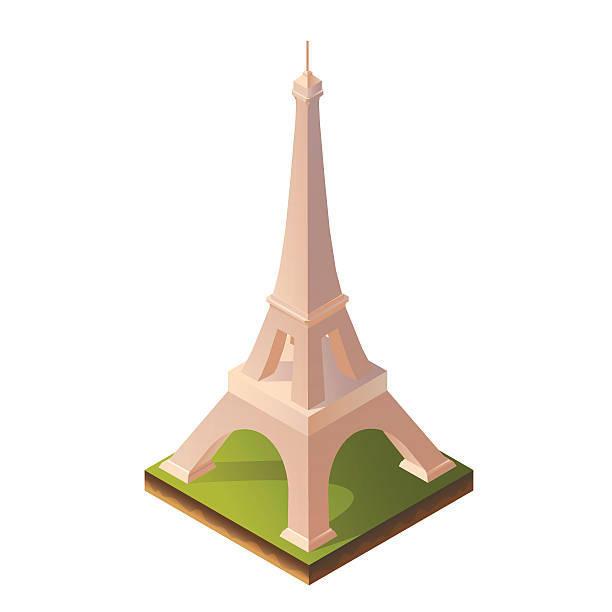 Isometric Illustration of Eiffel Tower Color Bright Isometric Illustration of Eiffel Towerfor Print, Intefaces, Infographic and Web eiffel tower stock illustrations