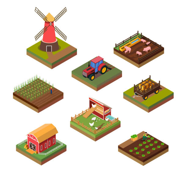 Isometric Illustration of Farms Objects vector art illustration