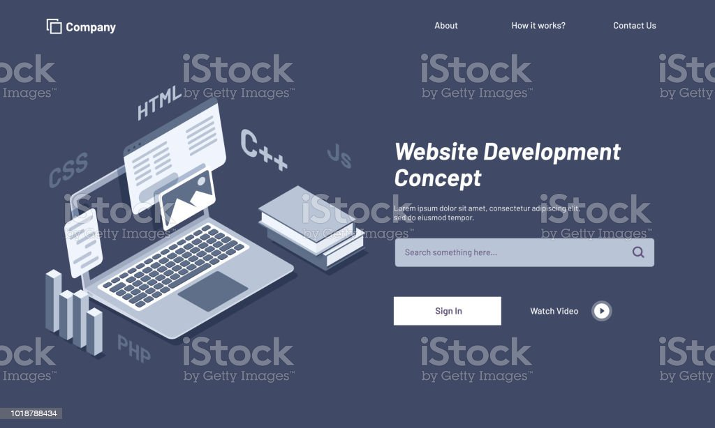 Isometric Illustration Of Laptop With Browser Window Website