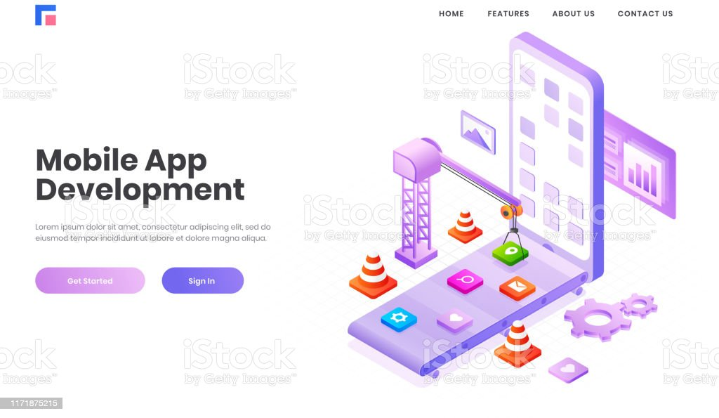 Isometric Illustration Of Multiple Application Apps Under Maintenance By Tower Crane In Smartphone Screen For Mobile App Development Concept Based Landing Page Design Stock Illustration Download Image Now Istock