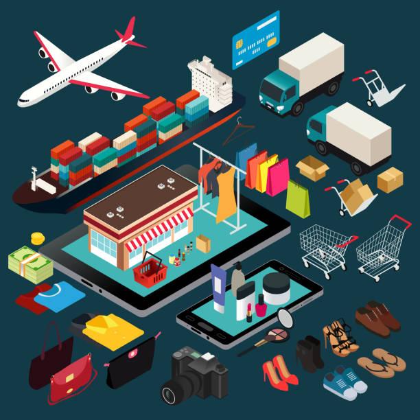 Isometric Illustration of Shopping and Shipping vector art illustration