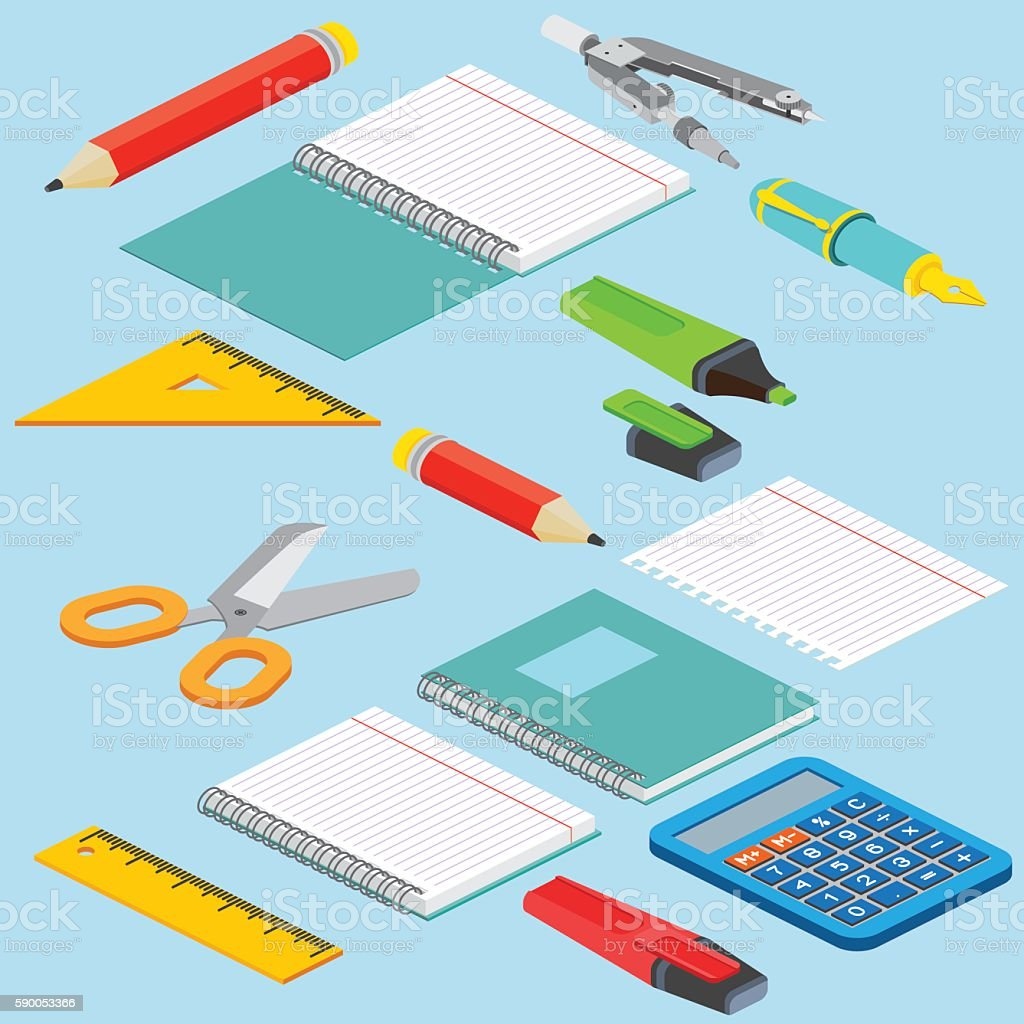 Isometric illustration on a blue background vector art illustration