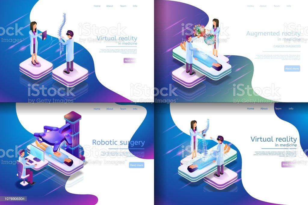 Isometric Illustration Virtual Medical Research vector art illustration