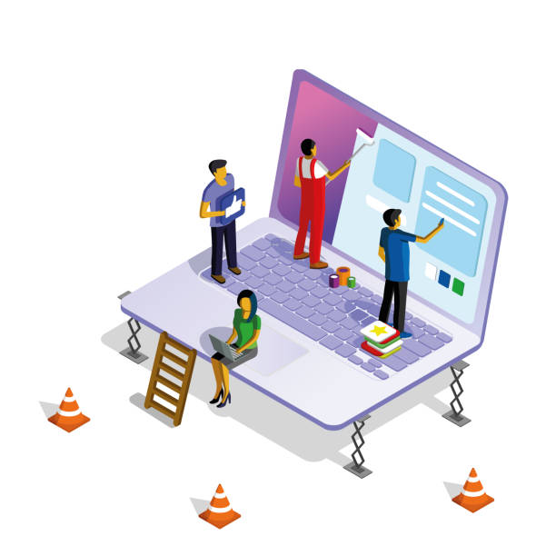 Isometric illustration with a laptop, men and women working on web design. Isometric illustration with a laptop, men and women working on web design. web design stock illustrations